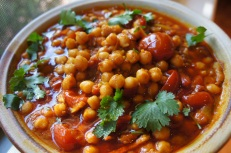 Chickpeas with bacon, tomato, turmeric, garam masala